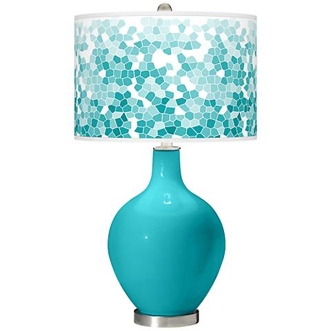 Surfer Blue Mosaic Giclee Ovo Table Lamp
