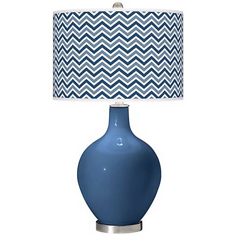 Regatta Blue Narrow Zig Zag Ovo Table Lamp