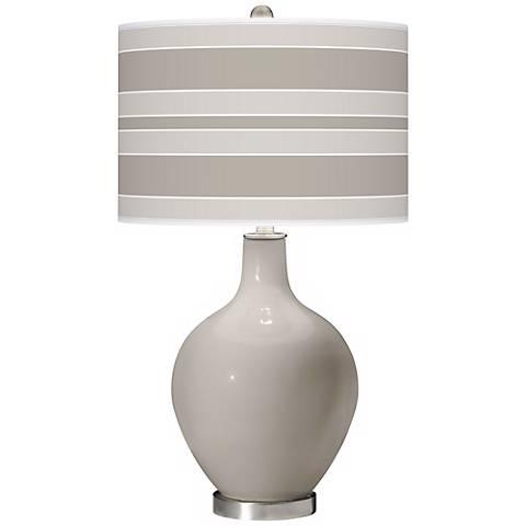 Requisite Gray Bold Stripe Ovo Table Lamp