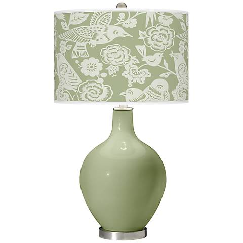 Majolica Green Aviary Ovo Table Lamp