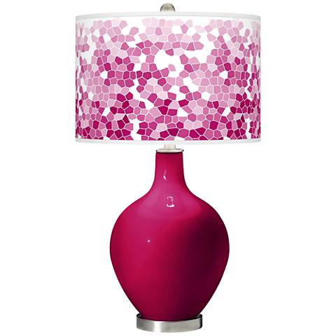 French Burgundy Mosaic Giclee Ovo Table Lamp