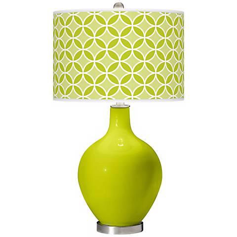 Pastel Green Circle Rings Ovo Table Lamp