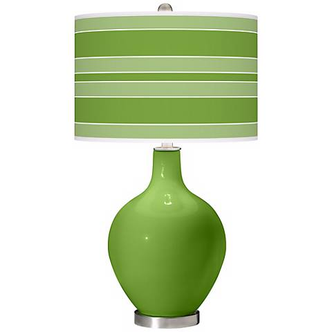 Rosemary Green Bold Stripe Ovo Table Lamp