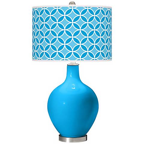 Sky Blue Circle Rings Ovo Table Lamp