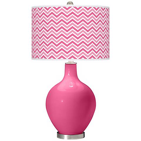 Blossom Pink Narrow Zig Zag Ovo Table Lamp