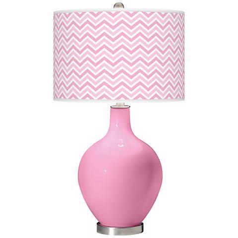 Pale Pink Narrow Zig Zag Ovo Table Lamp