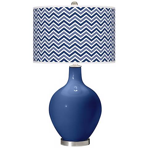 Monaco Blue Narrow Zig Zag Ovo Table Lamp