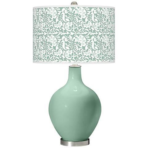 Grayed Jade Gardenia Ovo Table Lamp