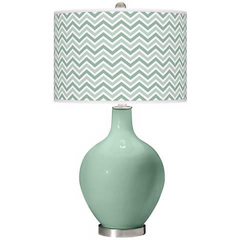 Grayed Jade Narrow Zig Zag Ovo Table Lamp
