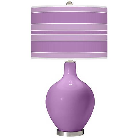 African Violet Bold Stripe Ovo Table Lamp