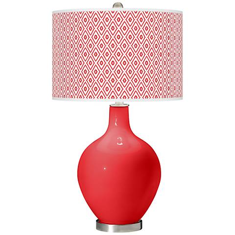 Poppy Red Diamonds Ovo Table Lamp