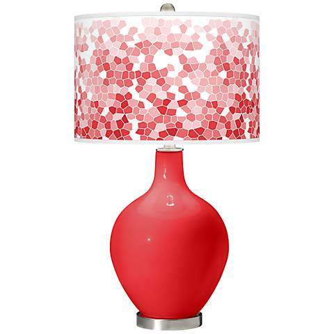 Poppy Red Mosaic Giclee Ovo Table Lamp