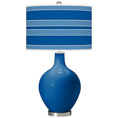Hyper Blue Bold Stripe Ovo Table Lamp