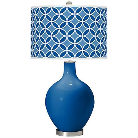 Hyper Blue Circle Rings Ovo Table Lamp
