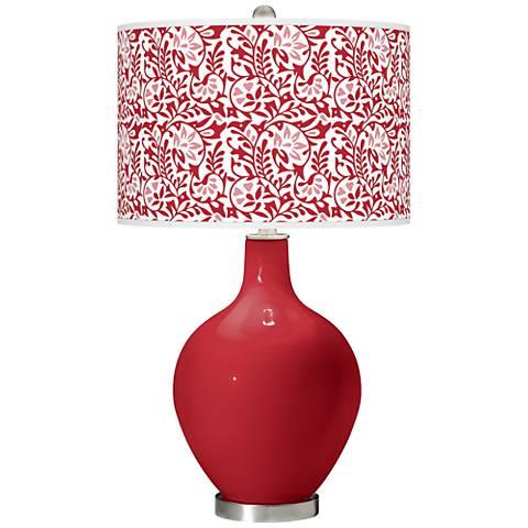 Ribbon Red Gardenia Ovo Table Lamp