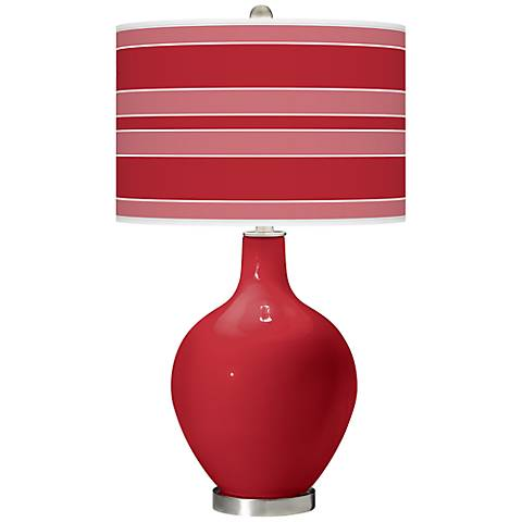 Ribbon Red Bold Stripe Ovo Table Lamp