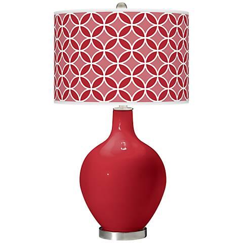 Ribbon Red Circle Rings Ovo Table Lamp
