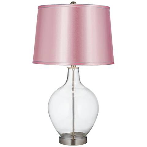Satin Pale Pink Shade Clear Fillable Ovo Table Lamp