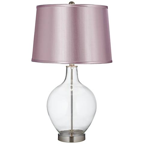 Satin Lavender Shade Clear Fillable Ovo Table Lamp