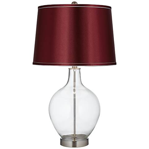 Satin Merlot Shade Clear Fillable Ovo Table Lamp