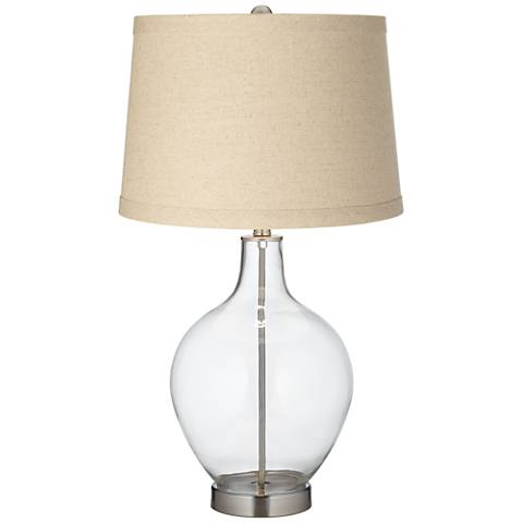 Clear Fillable Burlap Drum Shade Ovo Table Lamp