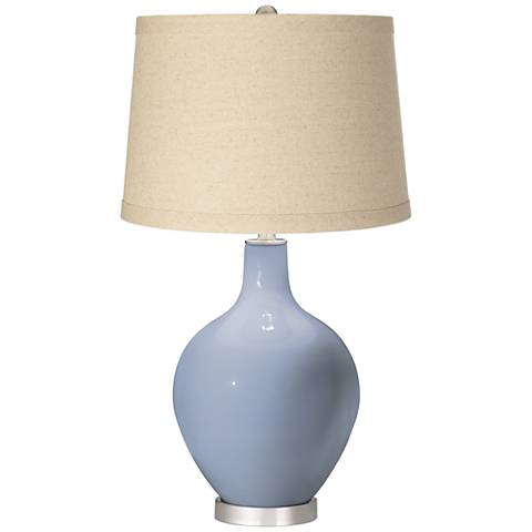Blue Sky Burlap Drum Shade Ovo Table Lamp