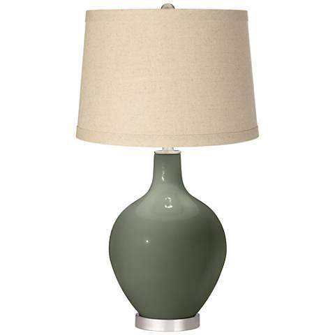 Deep Lichen Green Burlap Drum Shade Ovo Table Lamp