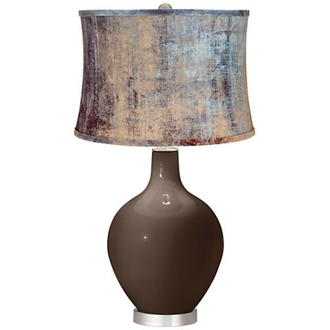 Carafe Blue Velvet Shade Ovo Table Lamp