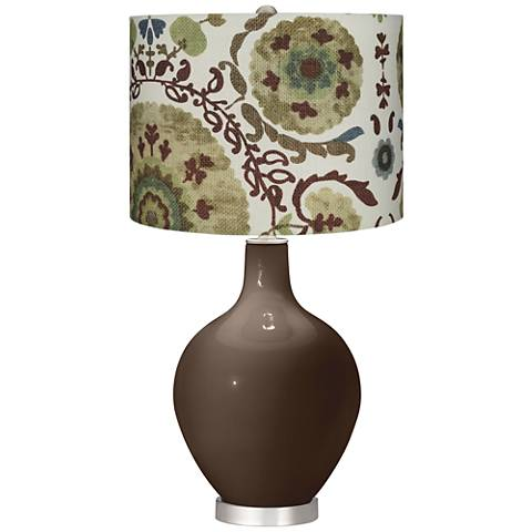 Carafe Green Floral Paisley Ovo Table Lamp