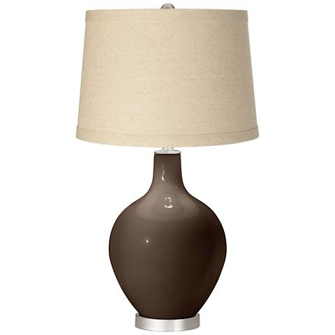 Carafe Burlap Drum Shade Ovo Table Lamp