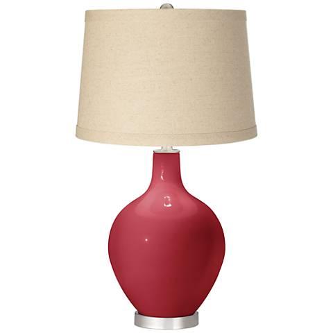 Samba Burlap Drum Shade Ovo Table Lamp