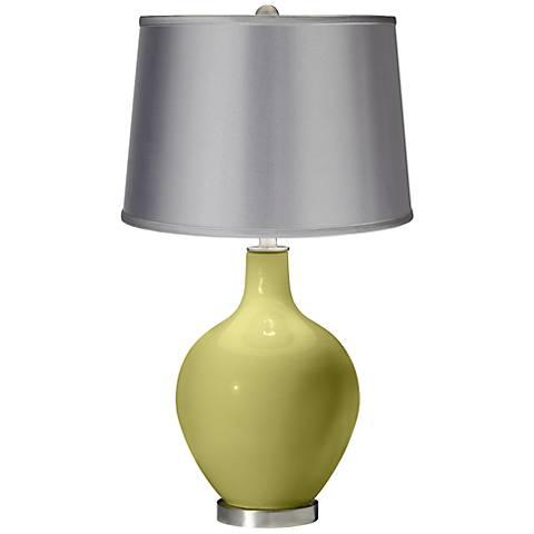 Linden Green - Satin Light Gray Shade Ovo Table Lamp