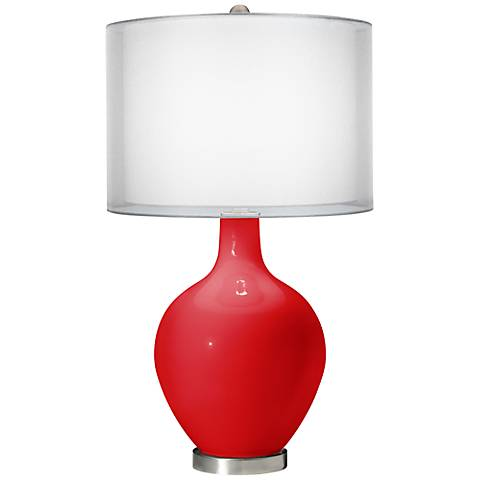 Bright Red Double Sheer Silver Shade Ovo Table Lamp