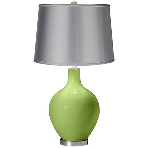 Lime Rickey - Satin Light Gray Shade Ovo Table Lamp