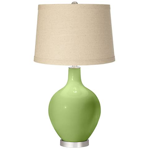 Lime Rickey Burlap Drum Shade Ovo Table Lamp
