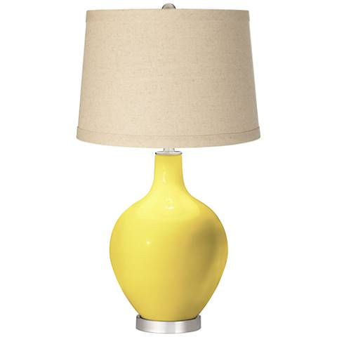 Lemon Twist Burlap Drum Shade Ovo Table Lamp