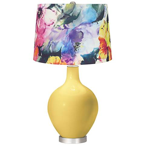 Daffodil Watercolor Floral Shade Ovo Table Lamp