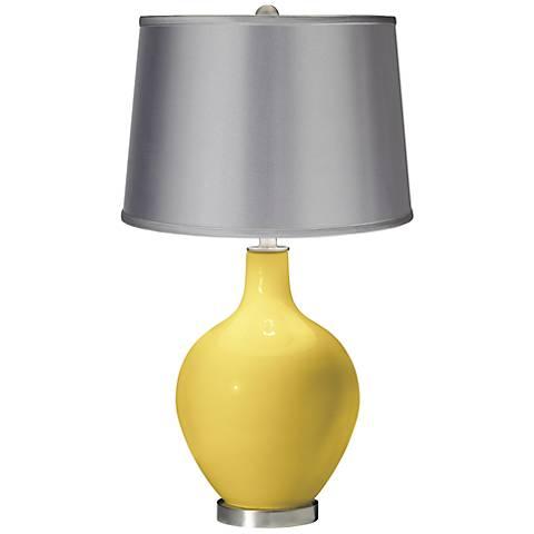 Daffodil - Satin Light Gray Shade Ovo Table Lamp