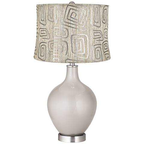 Silver Lining Metallic Spiral Squiggles Shade Ovo Table Lamp