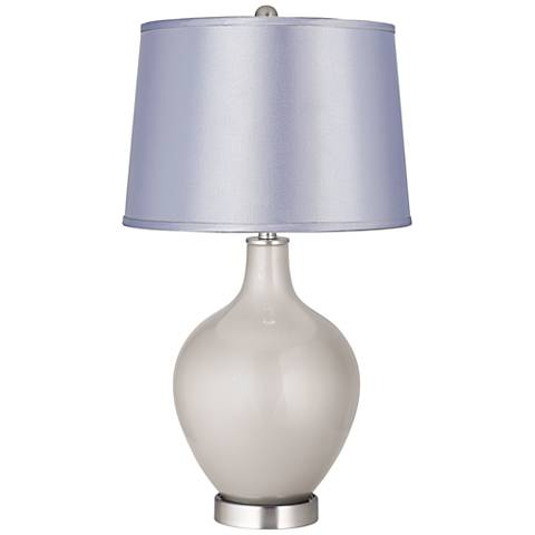 Silver Lining Metallic Satin Periwinkle Shade Ovo Table Lamp