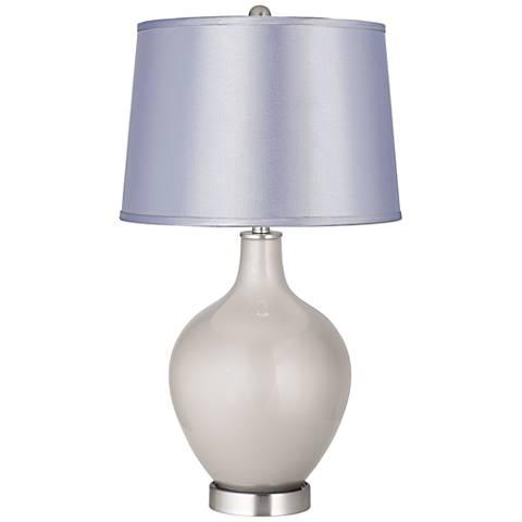 Silver Lining Metallic Satin Periwinkle Shade Ovo Table Lamp