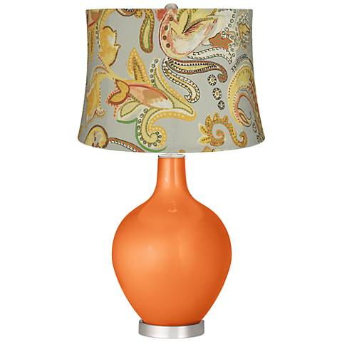 Burnt Orange Metallic Yellow Paisley Ovo Table Lamp