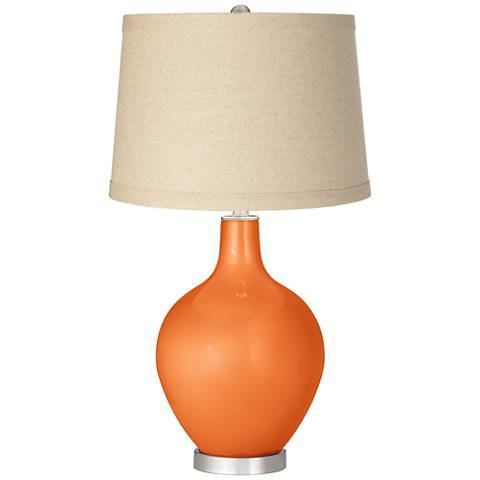 Burnt Orange Metallic Burlap Drum Shade Ovo Table Lamp