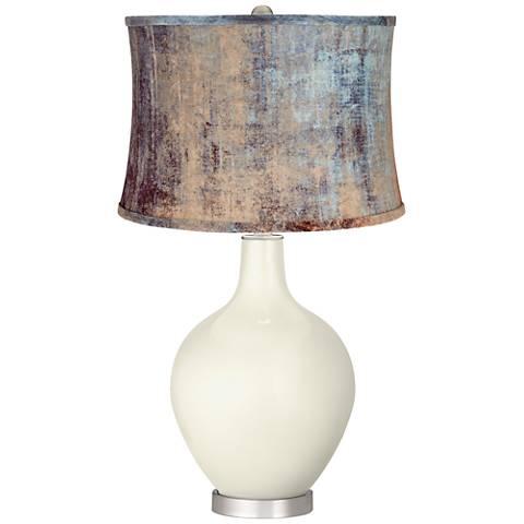 Vanilla Metallic Blue Velvet Shade Ovo Table Lamp