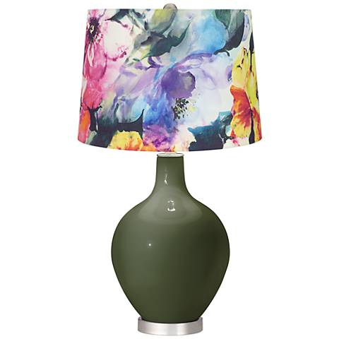 Secret Garden Watercolor Floral Shade Ovo Table Lamp