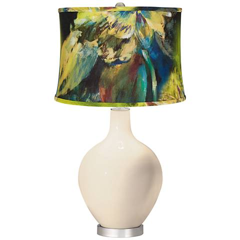 Steamed Milk Abstract Floral Shade Ovo Table Lamp