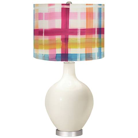 West Highland White Bold Plaid Shade Ovo Table Lamp