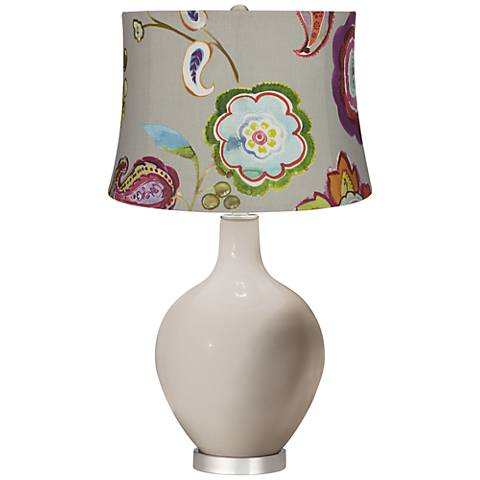 Pediment Beige with Flowers Ovo Table Lamp