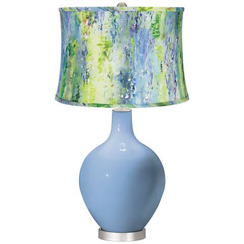 Placid Blue Cool Watercolor Shade Ovo Table Lamp