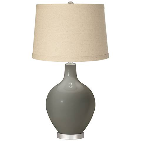 Gauntlet Gray Burlap Drum Shade Ovo Table Lamp